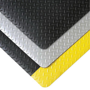 "Superior Manufacturing Notrax 4' X 75' Black And Yellow 3/4"" Thick Vinyl Cushion Trax Ultra Safety/Anti-Fatigue Floor Mat"