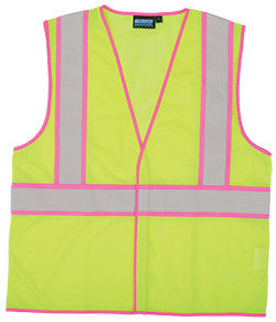 ERB S730 Lime Class 2 Safety Vest with Pink Trim