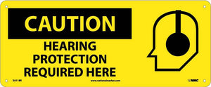 Caution Hearing Protection Required Here Sign