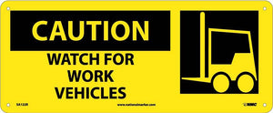 Caution, Watch For Work Vehicles W/ Graphic Sign