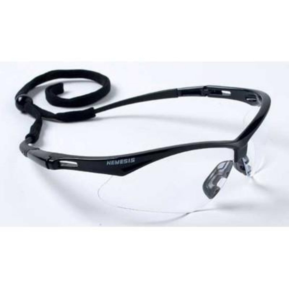 SAFETY GLASSES CLEAR V30 NEMESIS with BLACK CORD