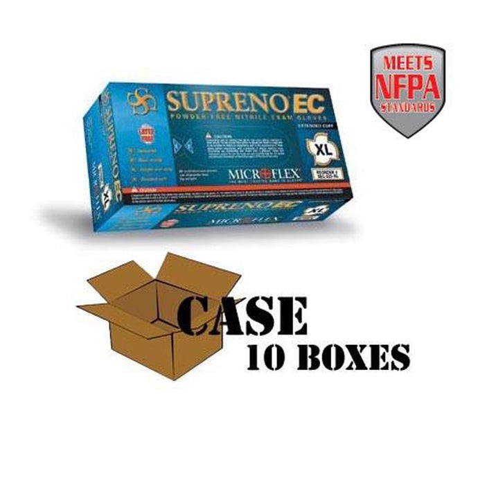 Microflex - Blue Supreno EC Nitrile Powder-Free Disposable Gloves, Textured - Case