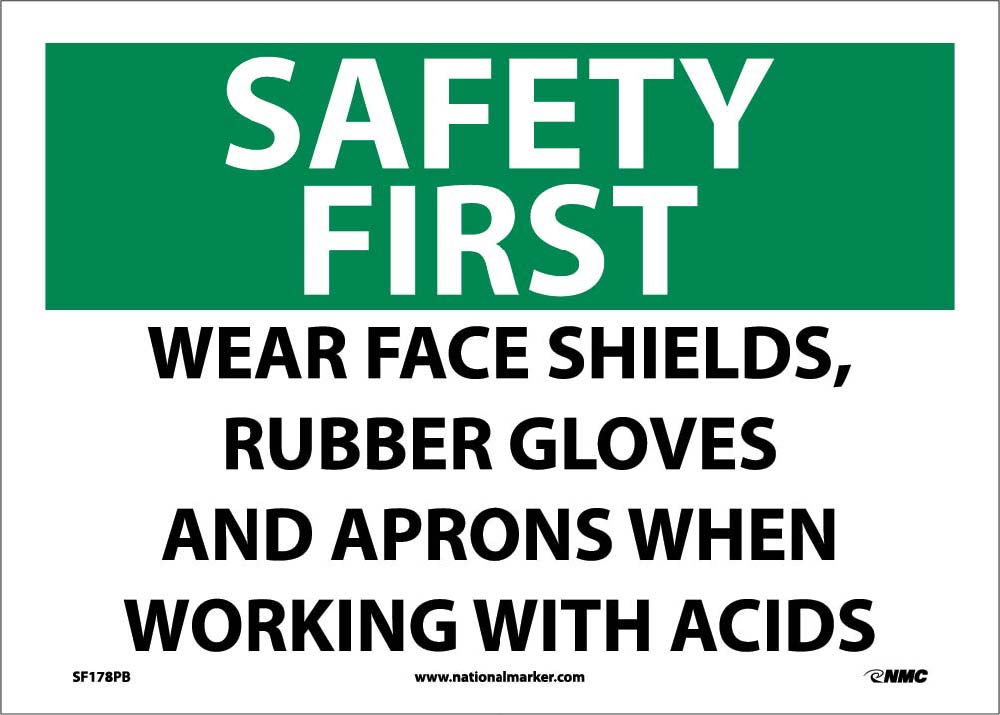 Safety First Wear Ppe When Working With Acids Sign