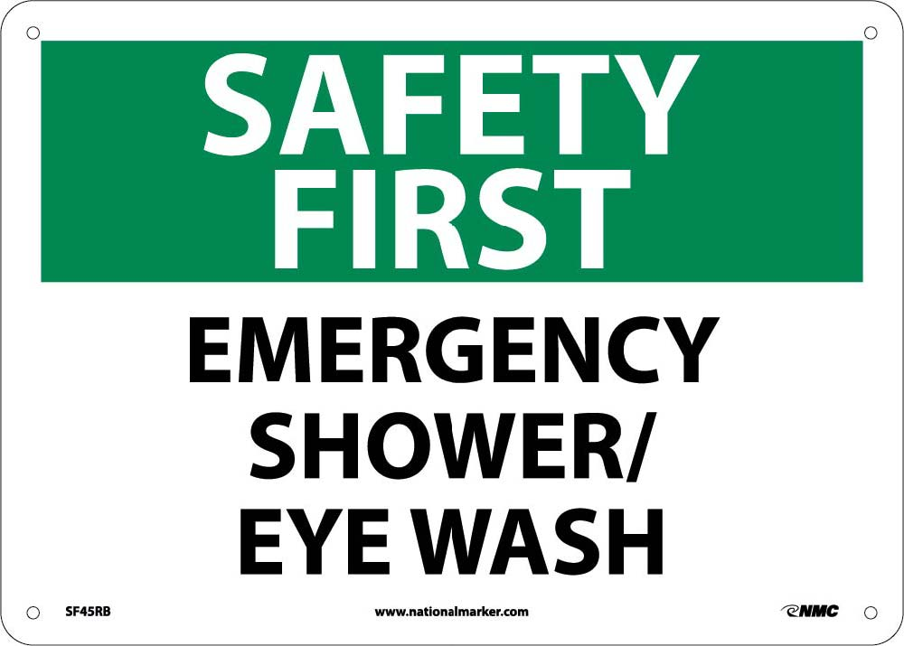 Safety First Emergency Shower/Eye Wash Sign