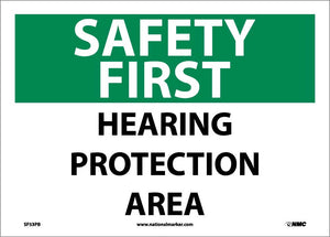 Safety First Hearing Protection Area Sign