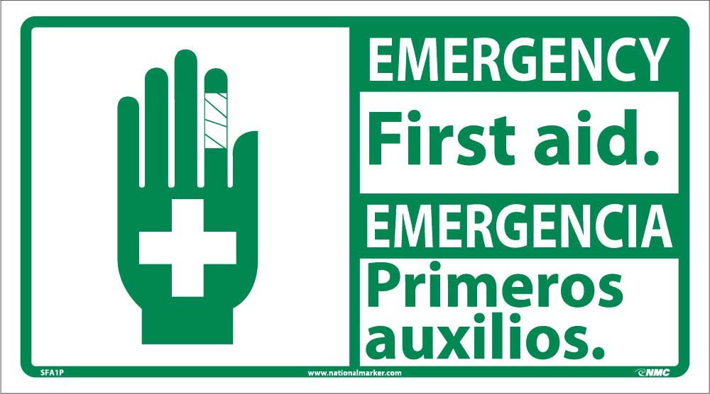 Emergency First Aid Sign - Bilingual