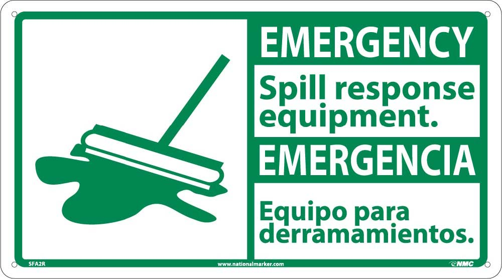 Emergency Spill Response Equipment Sign - Bilingual