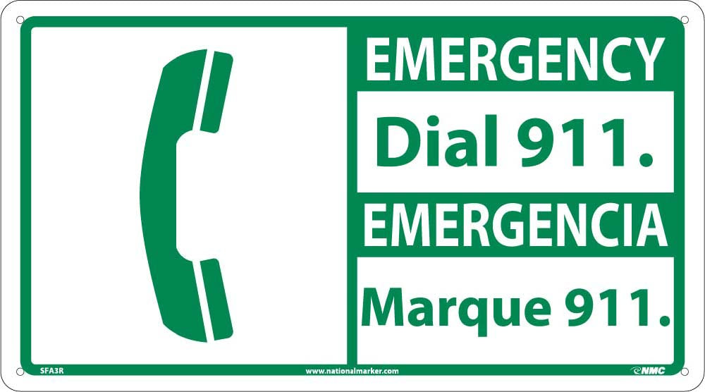 Emergency Dial 911 Sign - Bilingual