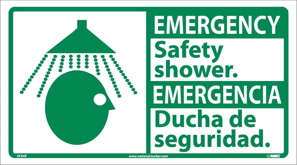 Emergency Safety Shower Sign - Bilingual