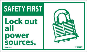 Safety First Lock Out All Power Sources Label - 5 Pack