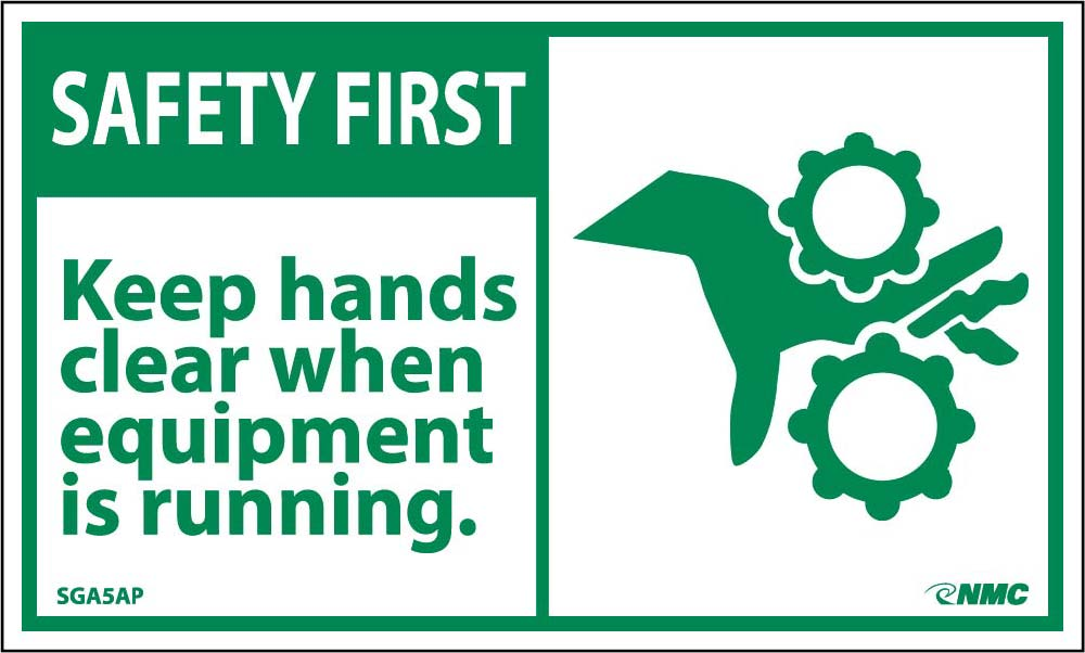 Safety First Keep Hands Clear When Running Equipment Label - 5 Pack