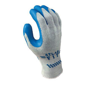 SHOWA Best Glove Size 8 Atlas Fit 300 10 Gauge Light Weight Abrasion Resistant Blue Natural Rubber Palm Coated Work Gloves With Light Gray Cotton And Polyester Liner And Elastic Knit Wrist