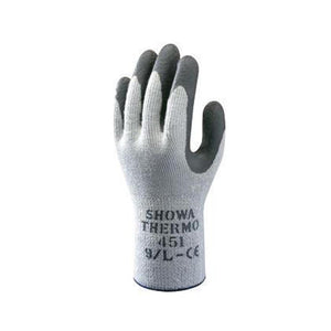 SHOWA Best Glove Size 8 Gray And Dark Gray Atlas Therma-Fit Seamless Loop-In Thermal Terry Cotton Lined Insulated Cold Weather Gloves With Elastic Cuff, Gray Latex Coated