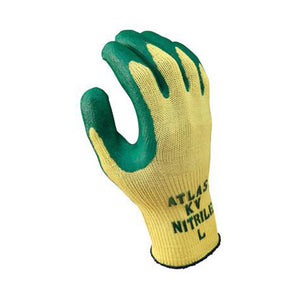 SHOWA Best Glove Size 9 Atlas 10 Gauge Cut Resistant Green Nitrile Dipped Palm Coated Work Gloves With Yellow Seamless Kevlar Knit Liner