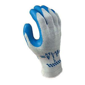 SHOWA Best Glove Size 9 Atlas Fit 300 10 Gauge Light Weight Abrasion Resistant Blue Natural Rubber Palm Coated Work Gloves With Light Gray Cotton And Polyester Liner And Elastic Knit Wrist