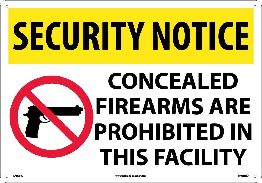 Security Notice Concealed Firearms Are Prohibited Sign