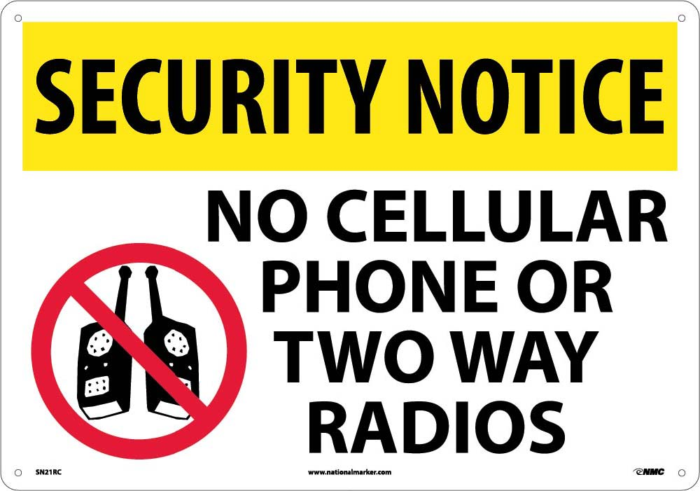 Security Notice No Cell Phone Sign