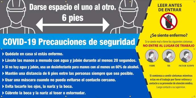 COVID-19 SAFETY PRECAUTIONS BANNER SPANISH 5' X 10 '