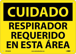 Caution Respirator Required Sign - Spanish