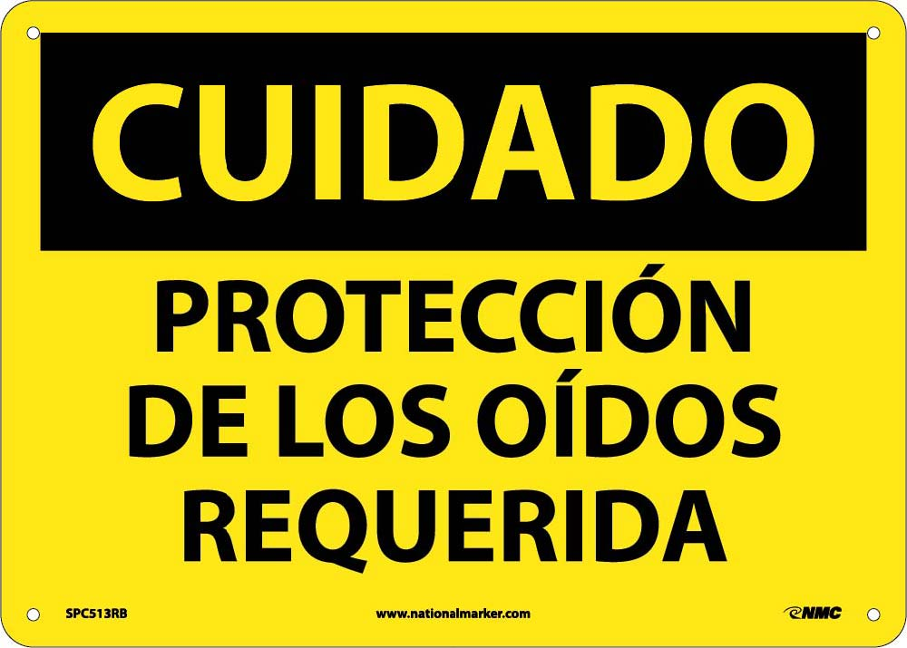 Caution Eye Protection Required Sign - Spanish