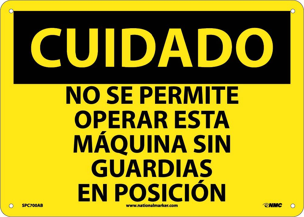 Caution Chock Wheels Sign - Spanish