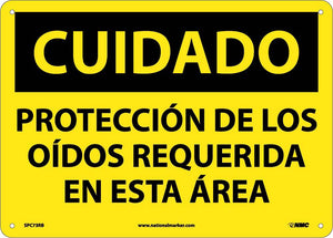 Caution Hearing Protection Required Sign - Spanish