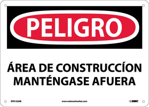 Danger Construction Area Keep Out Sign - Spanish