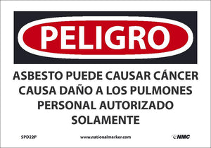 Asbestos May Cause Cancer Authorized Personnel Only Sign - Spanish