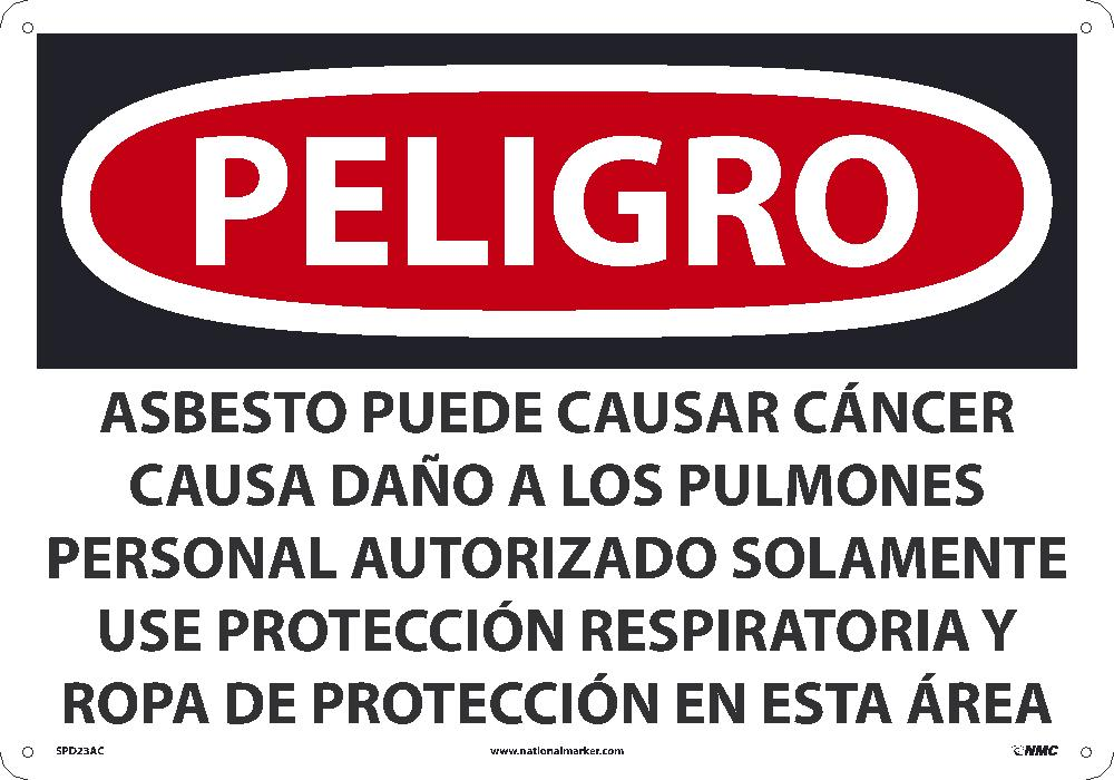 Asbestos May Cause Cancer Causes Wear Respiratory Protection Sign - Spanish