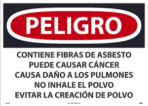 Contains Asbestos Fibers May Cause Cancer Avoid Creating Dust Sign - Spanish