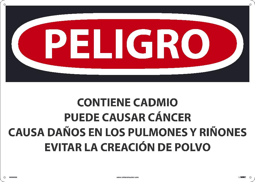 Contains Cadmium May Cause Cancer Sign - Spanish