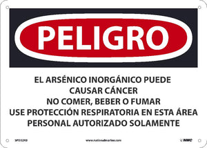 Inorganic Arsenic May Cause Cancer Sign - Spanish