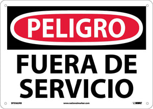 Danger Out Of Service Sign - Spanish