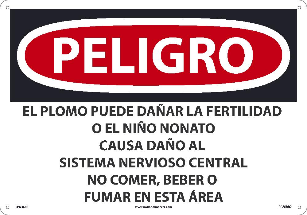 Lead May Damage Fertility Sign - Spanish
