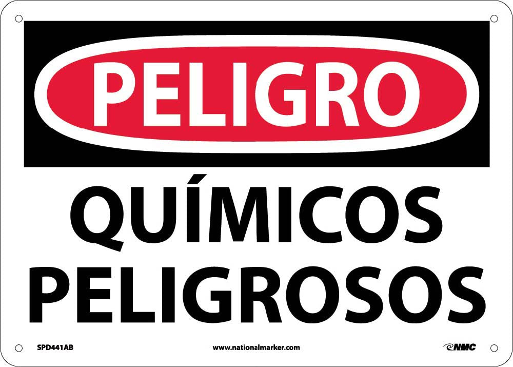 Danger Hazardous Chemicals Sign - Spanish