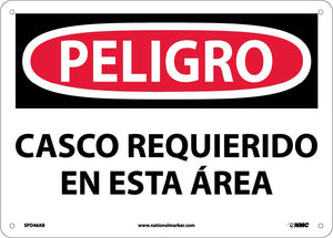Danger Hard Hat Area Sign - Spanish