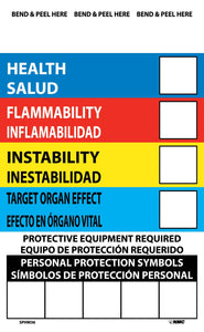 Right To Know Labels, Write On Color Bar (Bilingual), 6X4, Ps Vinyl, 10/Pk - 10 Pack