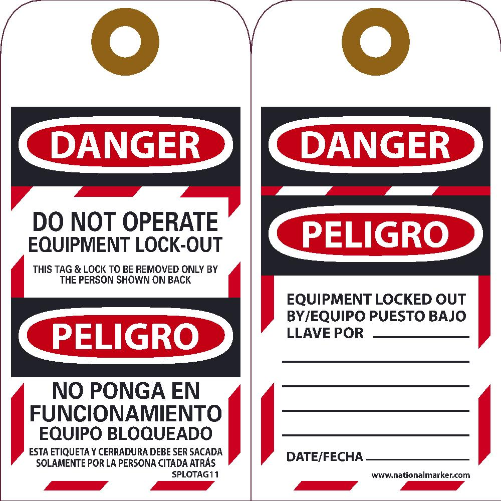 Danger Do Not Operate Equipment Lock-Out Bilingual Tag - Pack of 25