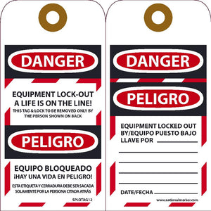 Danger Equipment Lock-Out A Life Is On The Line! Bilingual Tag - 10 Pack