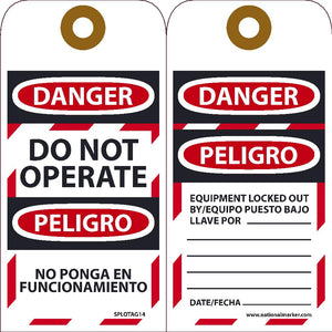 Danger Do Not Operate Equipment Tag-Out Bilingual Tag - 10 Pack