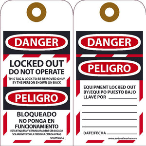 Danger Locked Out Do Not Operate Bilingual Tag - 10 Pack