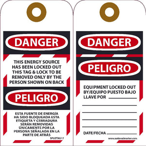 Danger Energy Source Has Been Locked Out Bilingual Tag - 10 Pack