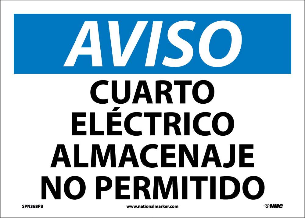 Notice Electric Room No Storage Permitted Sign - Spanish