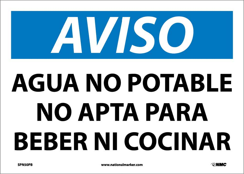 Notice Non-Potable Water Sign - Spanish