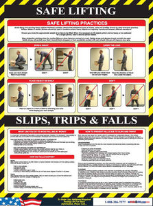 Poster, Safe Lifting/Slips, 24 X 18, Laminated Paper, Spanish