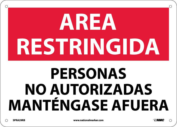 Restricted Area Keep Out Sign - Spanish