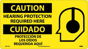 Caution Hearing Protection Required Here Sign - Bilingual