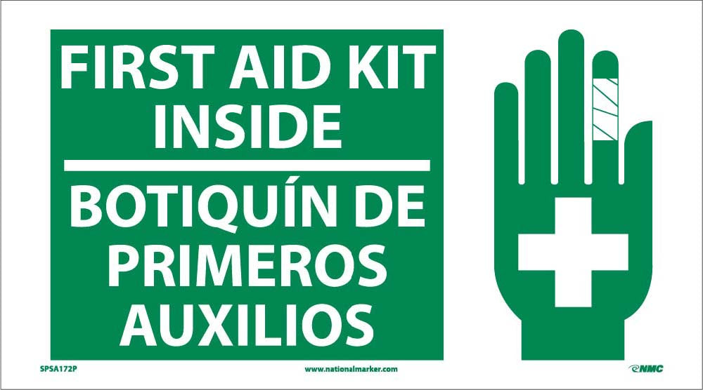 First Aid Kit Inside Sign - Bilingual