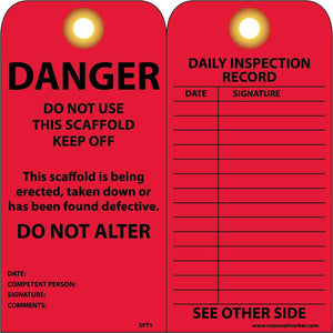 Danger Do Not Use This Scaffold Tag - Pack of 25