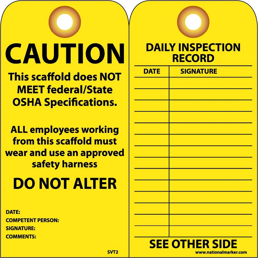 Caution Scaffold Does Not Meet Federal/State Osha Specs Tag - Pack of 25